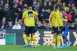 Arsenal's Pierre-Emerick Aubameyang looks dejected as he hugs Alexandre Lacazette after his yellow card is upgraded to red after a VAR review during the Premier League match at Selhurst Park, London. Picture date: 11th January 2020. Picture credit should read: Paul Terry/Sportimage