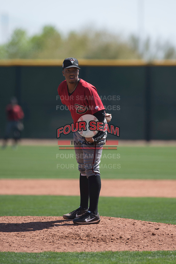 Arizona Diamondbacks relief pitcher Tyler Mark (26) looks to his catcher for the sign during a Minor League Spring Training intrasquad game at Salt River Fields at Talking Stick on March 12, 2018 in Scottsdale, Arizona. (Zachary Lucy/Four Seam Images)