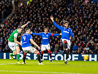 5th February 2020; Ibrox Stadium, Glasgow, Scotland; Scottish Premiership Football, Rangers versus Hibernian; Paul Hanlon of Hibernian shoots and scores the opening goal to make it 1-0 to Hibs in the 35th minute