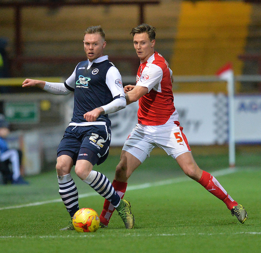 Fleetwood Town's Eggert Jonsson battles with Millwall's Aiden O'Brien<br /> <br /> Photographer Dave Howarth/CameraSport<br /> <br /> Football - The Football League Sky Bet League One - Fleetwood Town v Millwall - Tuesday 24th November 2015 - Highbury Stadium<br /> <br /> &copy; CameraSport - 43 Linden Ave. Countesthorpe. Leicester. England. LE8 5PG - Tel: +44 (0) 116 277 4147 - admin@camerasport.com - www.camerasport.com