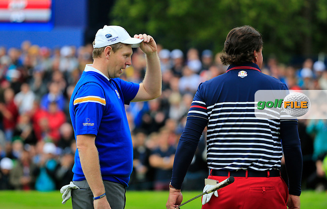 Phil Mickelson (USA) shakes hands with Stephen Gallacher (EUR) during the Sunday Singles Matches at the 2014 Ryder Cup at Gleneagles. The 40th Ryder Cup is being played over the PGA Centenary Course at The Gleneagles Hotel, Perthshire from 26th to 28th September 2014.: Picture Fran Caffrey, www.golffile.ie: \28/09/2014\