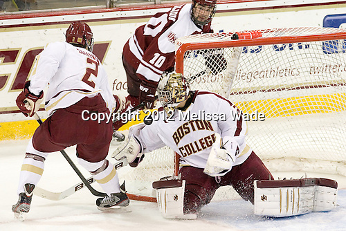 Colin Sullivan (BC - 2), Parker Milner (BC - 35) (Filiou) - The Boston College Eagles defeated the visiting University of Massachusetts-Amherst Minutemen 3-2 on Sunday, November 4, 2012, at Kelley Rink in Conte Forum in Chestnut Hill, Massachusetts.