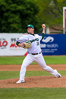 Beloit Snappers pitcher Jared Poche' (16) delivers a pitch during a Midwest League game against the Quad Cities River Bandits on May 20, 2018 at Pohlman Field in Beloit, Wisconsin. Beloit defeated Quad Cities 3-2. (Brad Krause/Four Seam Images)