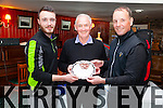 Winners of the Bill Rushby Pro- Am in Waterville on Monday were l-r; Liam Higgins Jnr., Bill Rushby Sponsor & David Higgins an Uncle & Nephew combination.  David also finished joint first with David White(Frankfield GC) & Danny Sugrue(Killarney GC) with a score of 73 in very windy conditions this was a Munster PGA Alliance sanctioned competition.