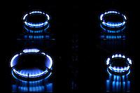 Gas flames on cooker hob, England, United Kingdom