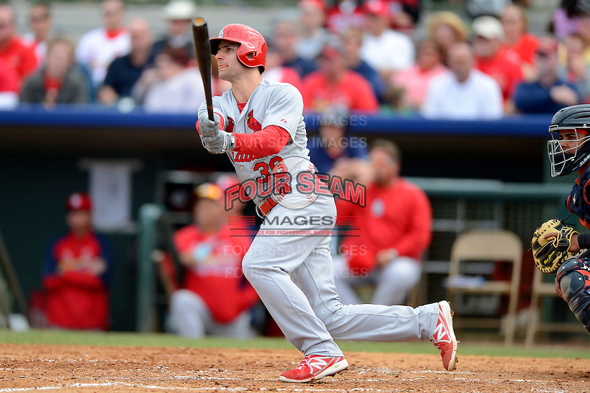 St. Louis Cardinals shortstop Pete Kozma #38 during a Spring Training game against the Houston Astros at Osceola County Stadium on March 1, 2013 in Kissimmee, Florida.  The game ended in a tie at 8-8.  (Mike Janes/Four Seam Images)