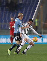 Calcio, Serie A: Lazio vs Juventus. Roma, stadio Olimpico, 4 dicembre 2015.<br /> Juventus&rsquo; Alvaro Morata, right, is challenged by Lazio&rsquo;s Dusan Basta during the Italian Serie A football match between Lazio and Juventus at Rome's Olympic stadium, 4 December 2015.<br /> UPDATE IMAGES PRESS/Isabella Bonotto