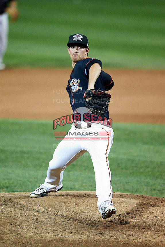 Erie Seawolves pitcher Rob Waite #38 during an Eastern League game against the Altoona Curve at Jerry Uht Park on August 31, 2012 in Erie, Pennsylvania.  Altoona defeated Erie 4-3.  (Mike Janes/Four Seam Images)