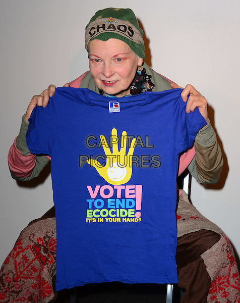 LONDON, ENGLAND - JANUARY 15: Dame Vivienne Westwood attends anti-fracking press conference.  Fashion designer joins Prisca Merz, volunteer director of End of Ecocide in Europe, at a joint press conference to explain the environmental damage caused by controversial shale gas 'fracking' technology as proposed by multi-national company Total on HMS President, Victoria Embankment, on January 15, 2014, in London, England.<br /> CAP/JOR<br /> &copy;Nils Jorgensen/Capital Pictures