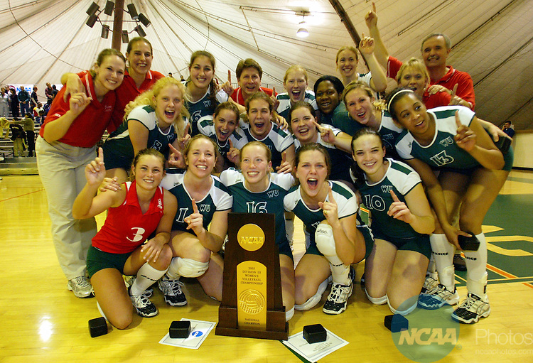06 DEC 2003:  Washington University celebrates their victory over New York University during the Division III Women's Volleyball Championship held at the Russell J. Frantz Athletic Court on the University of La Verne campus in La Verne, CA.  Washington defeated NYU 30-26, 32-30, 30-22 for the national title.  Kevin Sullivan/NCAA Photos