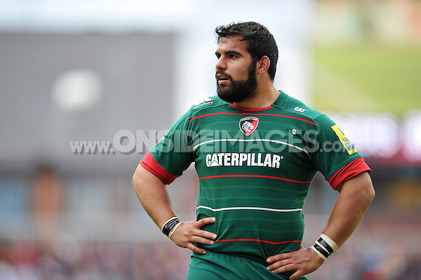 Riccardo Brugnara of Leicester Tigers looks on during a break in play. Aviva Premiership match, between Leicester Tigers and London Welsh on April 25, 2015 at Welford Road in Leicester, England. Photo by: Patrick Khachfe / JMP