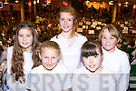 Castlegregory NS singers l-r: Maisie Hall, Freya Cheevers, Ciara Doogan-Jones, Emma Fitzgerald and Andrea Dowling at the 2014 Peace Proms in the INEC on Sunday