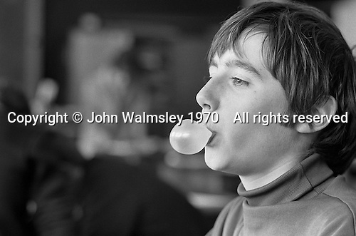 Popping gum, Whitworth Comprehensive School, Whitworth, Lancashire.  1970.