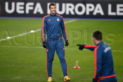 17.02.2016. Anderlecht, Brussels, Belgium. Europa League football. Anderlecht versus Olympiacos. Olympiacos press conference and pre-match training.  Luka Milivojevic of Olympiacos