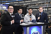 DALLAS, TX - MARCH 15: Fox Deportes boxing commentators Adrian Garcia Marquez, Erik Morales, and Jessi Losada with Mikey Garcia at the weigh-in for the Fox Sports PBC Pay-Per_View World Welterweight Championship fight at AT&T Stadium on March 15, 2019 in Dallas, Texas. The fight is on March 16 at 9PM ET/6PM PT. (Photo by Frank Micelotta/Fox Sports/PictureGroup)