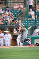 Lehigh Valley IronPigs center fielder Collin Cowgill (7) grounds out during a game against the Rochester Red Wings on June 30, 2018 at Frontier Field in Rochester, New York.  Lehigh Valley defeated Rochester 6-2.  (Mike Janes/Four Seam Images)