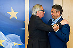 Belgium, Brussels - May 18, 2018 -- Jean-Claude JUNCKER (le), President of the European Commission, receives Sigmar GABRIEL (ri), former German Vice-Chancellor and former Chairman of SPD -- Photo © HorstWagner.eu
