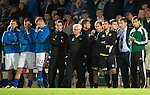 St Johnstone v FC Minsk...08.08.13 Europa League Qualifier<br /> Tommy Wright watches from the touchline as the penalties go wrong<br /> Picture by Graeme Hart.<br /> Copyright Perthshire Picture Agency<br /> Tel: 01738 623350  Mobile: 07990 594431