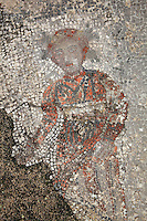 Figure from a Roman mosaic at the House of Ephebe, Volubilis, Northern Morocco. Volubilis was founded in the 3rd century BC by the Phoenicians and was a Roman settlement from the 1st century AD. Volubilis was a thriving Roman olive growing town until 280 AD and was settled until the 11th century. The buildings were largely destroyed by an earthquake in the 18th century and have since been excavated and partly restored. Volubilis was listed as a UNESCO World Heritage Site in 1997. Picture by Manuel Cohen