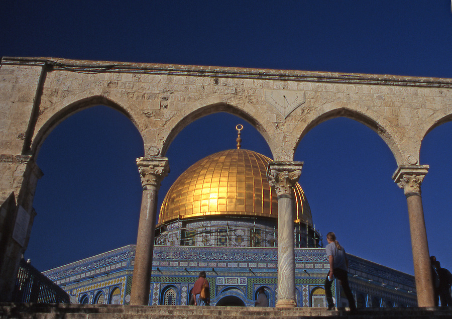 Golden Dome of the Rock on Temple Mount with archway entrance, East Jerusalem