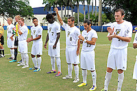 2 October 2011:  FIU's players (Nicholas Chase (8), raising hand) are introduced prior to the match.  The FIU Golden Panthers defeated the University of Kentucky Wildcats, 1-0 in overtime, at University Park Stadium in Miami, Florida.