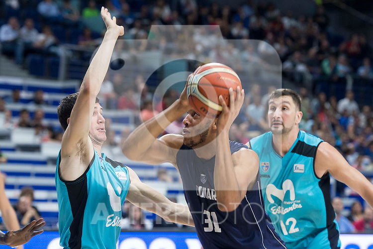 Movistar Estudiantes Dario Brizuela and Goran Sutton and Donar Groningen Stephen Domingo during Basketball Champions League match between Movistar Estudiantes and Donar Groningen at Wizink Center in Madrid, Spain October 02, 2017. (ALTERPHOTOS/Borja B.Hojas)
