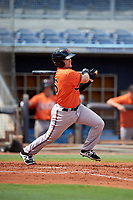 Baltimore Orioles Trevor Putzig (56) hits an infield single during a Florida Instructional League game against the Tampa Bay Rays on October 1, 2018 at the Charlotte Sports Park in Port Charlotte, Florida.  (Mike Janes/Four Seam Images)