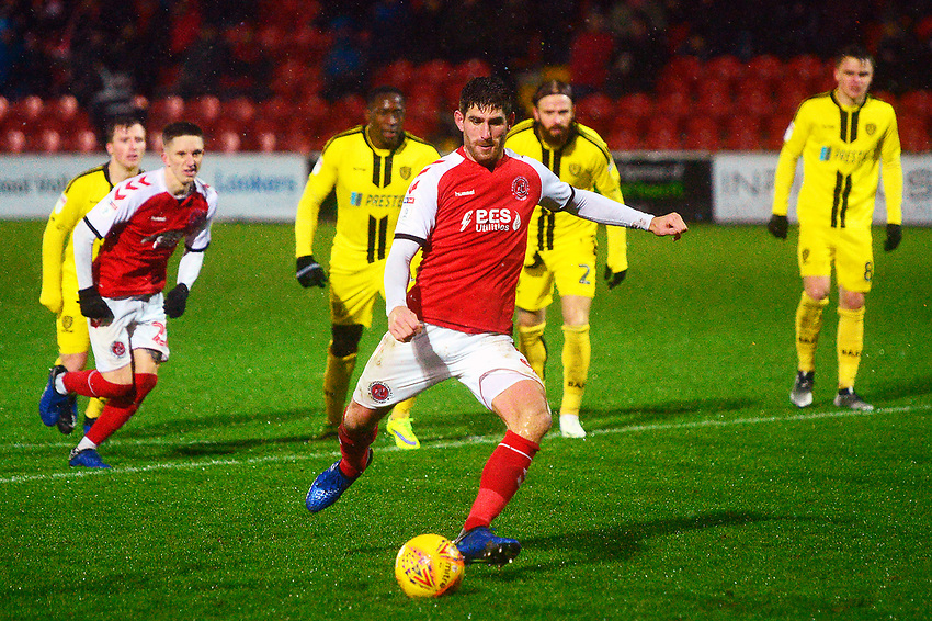 Fleetwood Town's Ched Evans scores his side's first goal   from a penalty<br /> <br /> Photographer Richard Martin-Roberts/CameraSport<br /> <br /> The EFL Sky Bet League One - Saturday 15th December 2018 - Fleetwood Town v Burton Albion - Highbury Stadium - Fleetwood<br /> <br /> World Copyright © 2018 CameraSport. All rights reserved. 43 Linden Ave. Countesthorpe. Leicester. England. LE8 5PG - Tel: +44 (0) 116 277 4147 - admin@camerasport.com - www.camerasport.com