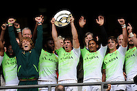 South Africa celebrate winning the Plate competition during Day Two of the iRB Marriott London Sevens at Twickenham on Sunday 11th May 2014 (Photo by Rob Munro)