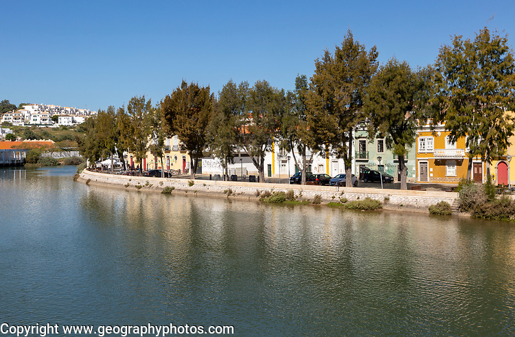 Historic homes on the waterfront of the river Rio Séqua, Tavira, Algarve, Portugal, southern Europe