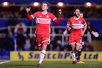 Patrick Bamford of Middlesbrough celebrates after he scores to make it 1-0 during the Sky Bet Championship match between Birmingham City and Middlesbrough at St Andrews, Birmingham, England on 6 March 2018. Photo by Bradley Collyer / PRiME Media Images.