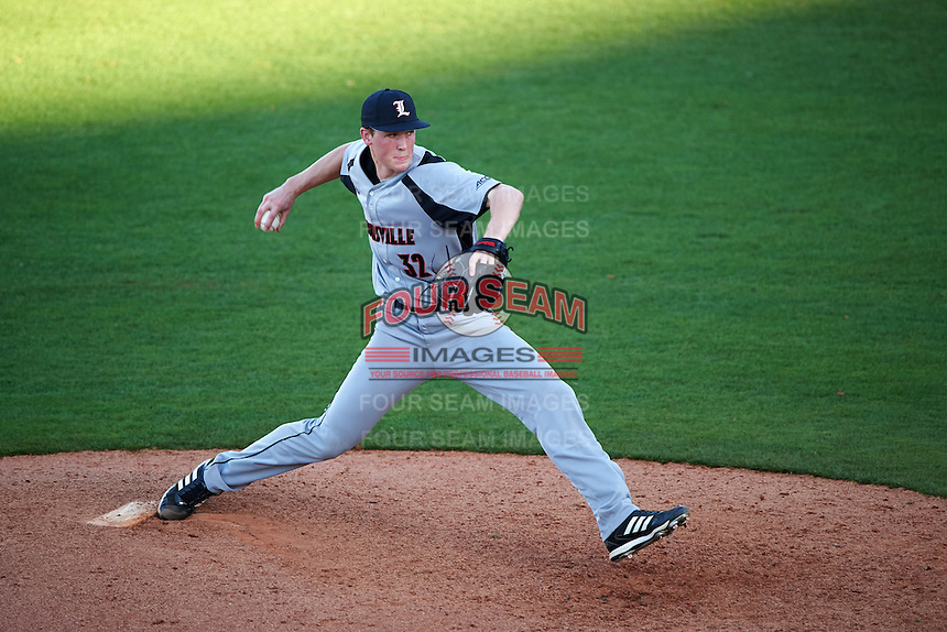 Louisville Cardinals relief pitcher Riley Thompson (32) delivers a pitch during a game against the Ball State Cardinals on February 19, 2017 at Spectrum Field in Clearwater, Florida.  Louisville defeated Ball State 10-4.  (Mike Janes/Four Seam Images)