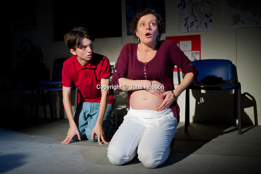 """London, UK. 16/11/2011. """"How the World Began"""" opens at the Arcola theatre.  Cast: Anna Francolini (as Susan), Ciaran McIntyre (as Gene) and Perry Millward (as Micah). Photo credit: Jane Hobson"""