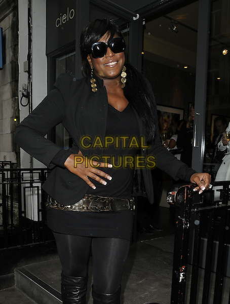 MICA PARIS.The fresh2o fundraiser, Cielo bar, London, England..September 14th, 2010.half 3/4 length black leggings tights belt blazer sunglasses shades hand on hip.CAP/CAN.©Can Nguyen/Capital Pictures.