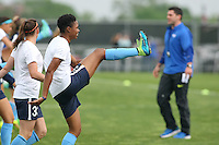 Piscataway, NJ, May 13, 2016. Sky Blue forward Maya Hayes (5) warms up prior to their match with the Boston Breakers. Sky Blue FC defeated the Boston Breakers, 1-0, in a National Women's Soccer League (NWSL) match at Yurcak Field.