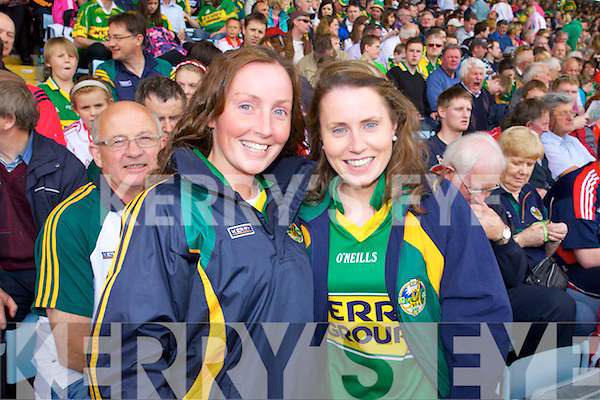 Kerry fans, pictured on Sunday, from left: Breda and Karina Slattery from Tralee..