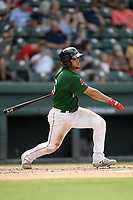 Catcher Alan Marrero (16) of the Greenville Drive bats in a game against the Rome Braves on Sunday, June 30, 2019, at Fluor Field at the West End in Greenville, South Carolina. Rome won, 6-3. (Tom Priddy/Four Seam Images)