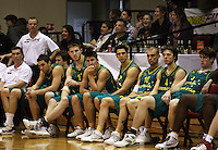 The Australian Boomers after the loss during the International basketball match between the NZ Tall Blacks and Australian Boomers at TSB Bank Arena, Wellington, New Zealand on 25 August 2009. Photo: Dave Lintott / lintottphoto.co.nz