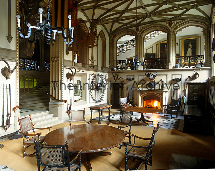 The Guard Room: Belvoir's overwhelming Gothic entrance hall, adorned with arms and armour