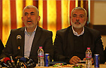 Hamas's leader in the Gaza Strip Yahya Sinwar speaks during a meeting with heads of Palestinian families in Gaza city on December 26, 2017. Photo by Ashraf Amra