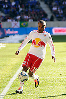 Dane Richards (19) of the New York Red Bulls during the 1st leg of the Major League Soccer (MLS) Western Conference Semifinals against the Los Angeles Galaxy at Red Bull Arena in Harrison, NJ, on October 30, 2011.