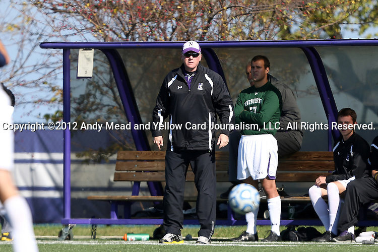 21 October 2012: Northwestern head coach Tim Lenahan. The Northwestern University Wildcats played the Penn State University Nittany Lions at Lakeside Field in Evanston, Illinois in a 2012 NCAA Division I Men's Soccer game. Penn State won the game 1-0 in golden goal overtime.