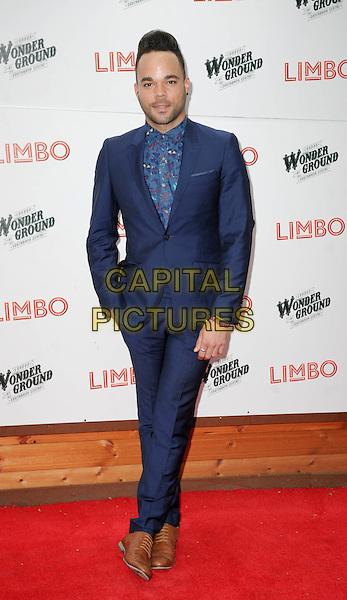 "Nate James.The ""Limbo"" press night, Priceless London Wonderground, Jubilee Gardens, London, England..May 20th, 2013.full length blue suit shirt.CAP/PP/GM.©Gary Mitchell/PP/Capital Pictures"