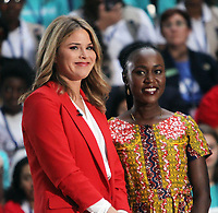 October 11, 2018  Jenna Bush at Today Show Michelle Obama announces the Obama Foundation's Global Girls Alliance to Support Adolescent Girls Education Around the World on International Day of the Girl   at Rockefeller Center Plaza in New York October 11, 2018 Credit:RW/MediaPunch