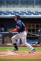 GCL Red Sox first baseman Darwin Pena (10) at bat during the second game of a doubleheader against the GCL Rays on August 4, 2015 at Charlotte Sports Park in Port Charlotte, Florida.  GCL Red Sox defeated the GCL Rays 2-1.  (Mike Janes/Four Seam Images)