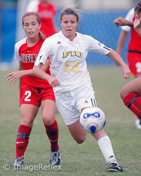 Amy Jackson (15) plays for FIU against Louisiana-Lafayette on October 14, 2007. The game ended in a scoreless tie after two overtime periods..