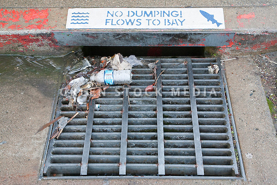 No Dumping Storm Drain Green Stock Media