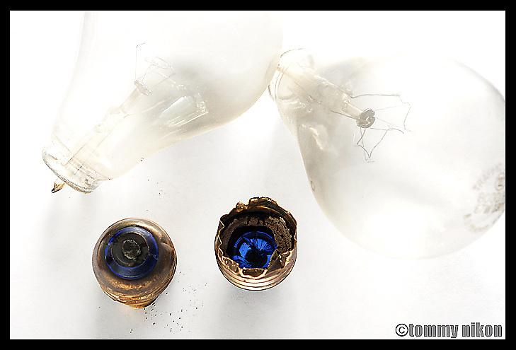 Broken bulbs, exposed bases.