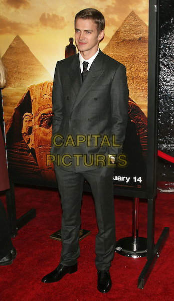 "HAYDEN CHRISTENSEN.Premiere of ""Jumper"" at the Ziegfeld Theater, New York, NY, USA..February 11th, 2008.full length grey gray suit hands in pockets.CAP/LNC/TOM.©TOM/LNC/Capital Pictures."