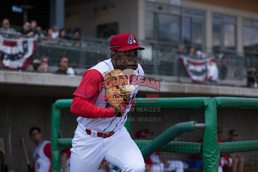 Stockton Ports center fielder Jameson Hannah (5) during a California League game against the San Jose Giants on April 9, 2019 in Stockton, California. San Jose defeated Stockton 4-3. (Zachary Lucy/Four Seam Images)